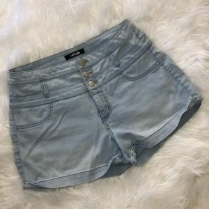 Light-washed Button Up Shorts